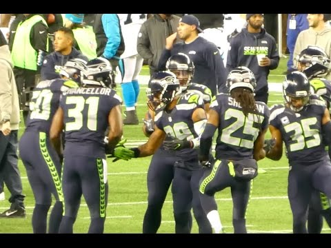 Seattle Seahawks Pre Game Warm Ups - SNF Hawks Vs Panthers.