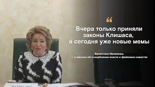 Матвиенко попыталась пересказать мемы. О законах