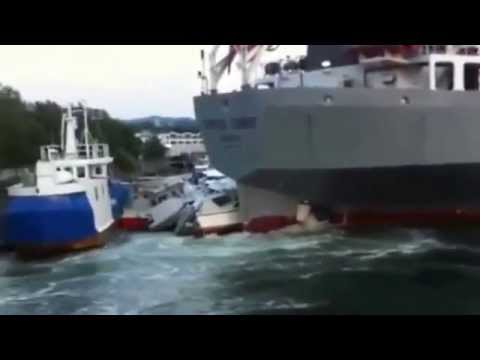 Massive Cement Carrier Slowly Crushes Yachts In Marina