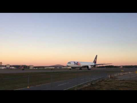 FEDEX 767 Landing and Taxi at KMHT