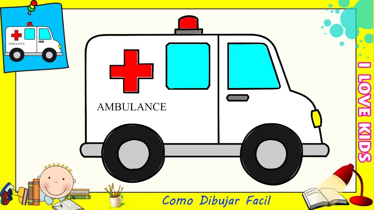 Como dibujar una ambulancia FACIL paso a paso para niños y ...