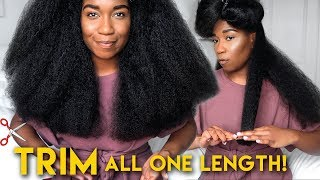 DRY TRIM Your Natural Hair For EVEN LENGTH ACROSS | Growing Out Layers