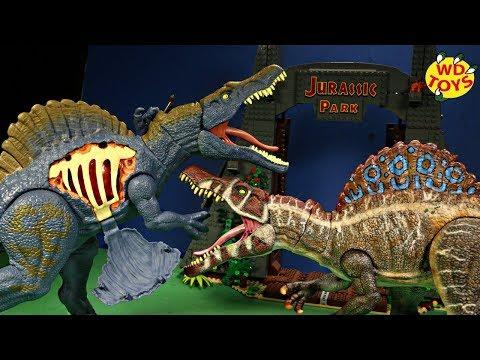 Jurassic World Battle Damage SPINOSAURUS VS SPINOSAURUS Unboxing Dino Rivals Dinosaur Toys