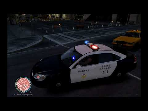 GTA IV LCPDFR 台灣警察模組 攔查前方違規計程車叫他靠邊停車不停跑給警方追()