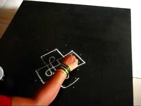 Drawing a simple sikku kolam / chikku kolam desgin  | melika muggu | Sudha Balaji