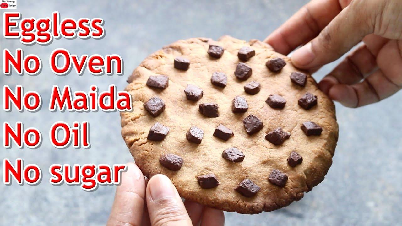 Eggless Chocolate Chip Cookies - No Oven - No Maida - No Oil - No Sugar   Skinny Recipes