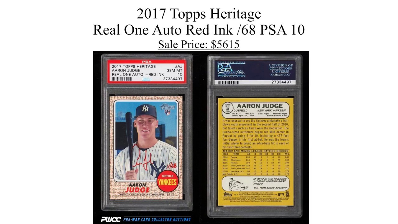 Top 10 Most Expensive Graded Aaron Judge Baseball Cards Sold On Ebay Aug Sep 2017