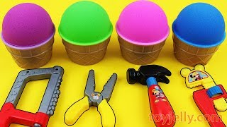 Kinetic Sand VS Mad Matter Kinetic Sand Ice Cream Kinder Surprise Eggs Learn Colors with Baby Toys