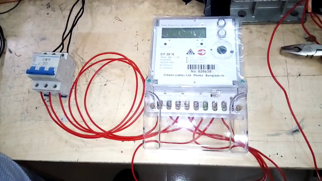 how to connect three phase energy meter digital meter
