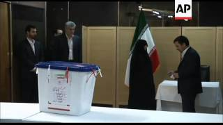 Iran''''''''s president casts his ballot in the run-off for the parliamentary elections