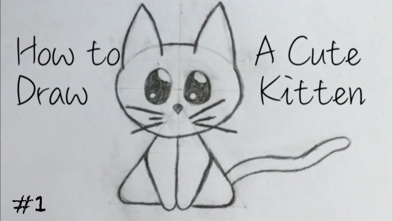 easy drawing how to draw a cute kitten