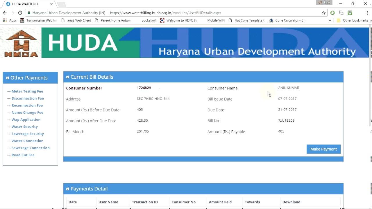 how to pay haryana water bill online