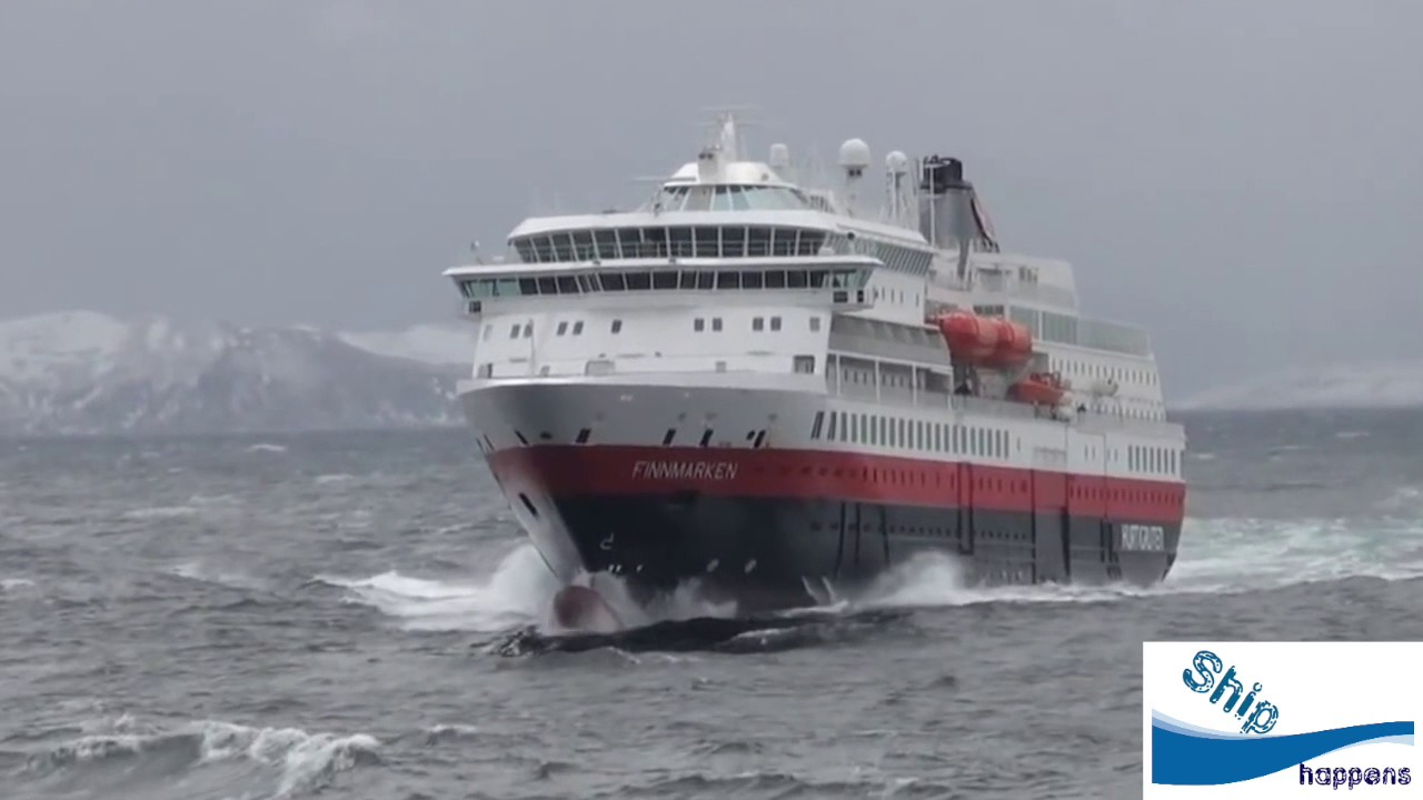 Cruise ship in Rough seas in Norway - YouTube