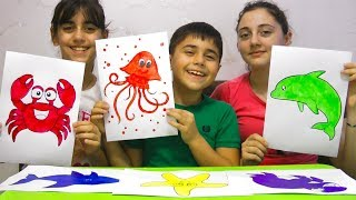 Guka and Sisters Learn Colors and names of Sea Animals. Educational video for kids children Toddler
