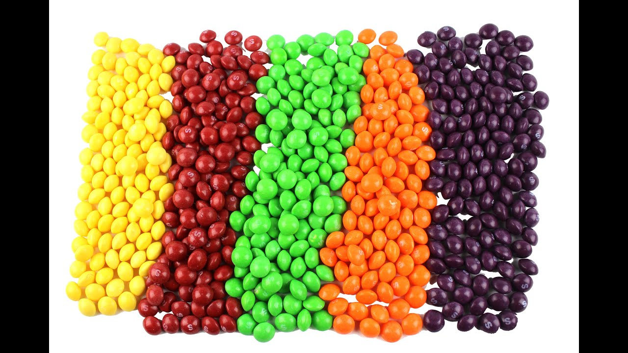 learn colors with skittles yellow green orange purple