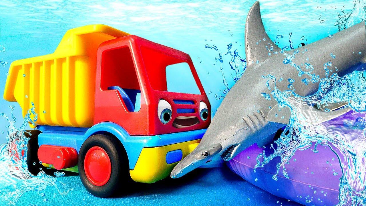 Aprenda sobre tubarão e caminhão betoneira! Veículos de serviço com brinquedo BRIO para crianças