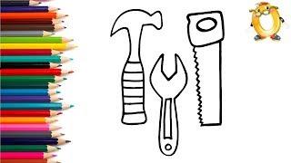 Раскраска для детей ИНСТРУМЕНТЫ. Мультик - Раскраска. Учим цвета II ОБУЧАШКА ТВ