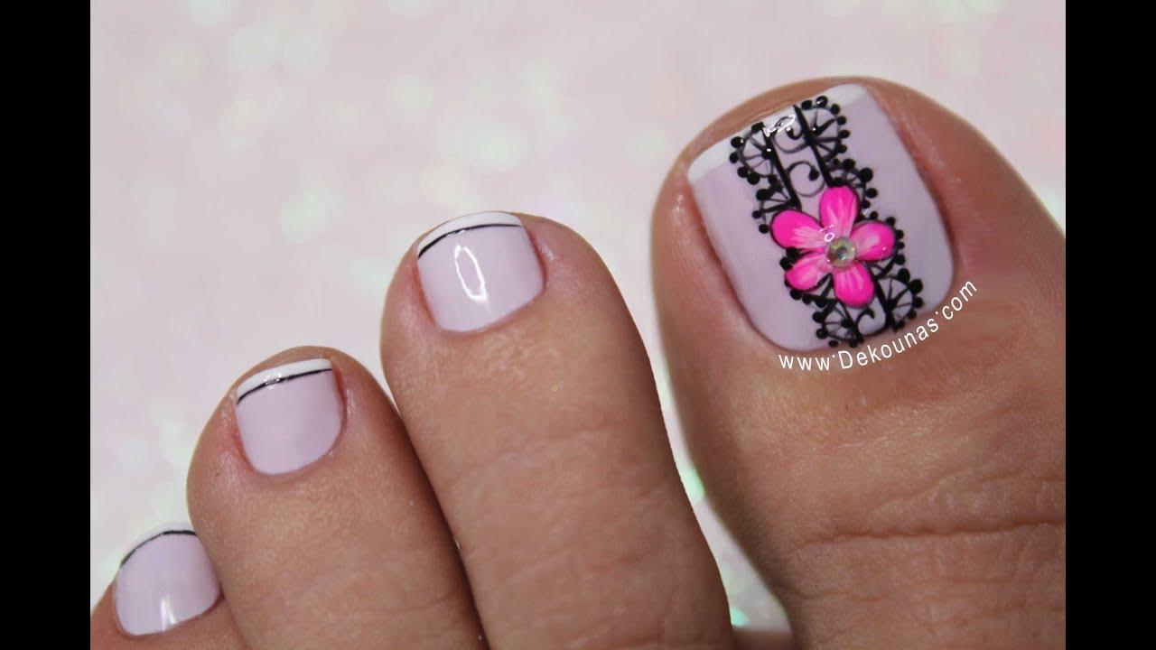 Diseño De Pies Flor Y Encaje Facil Deko Uñas Toe Nail Art