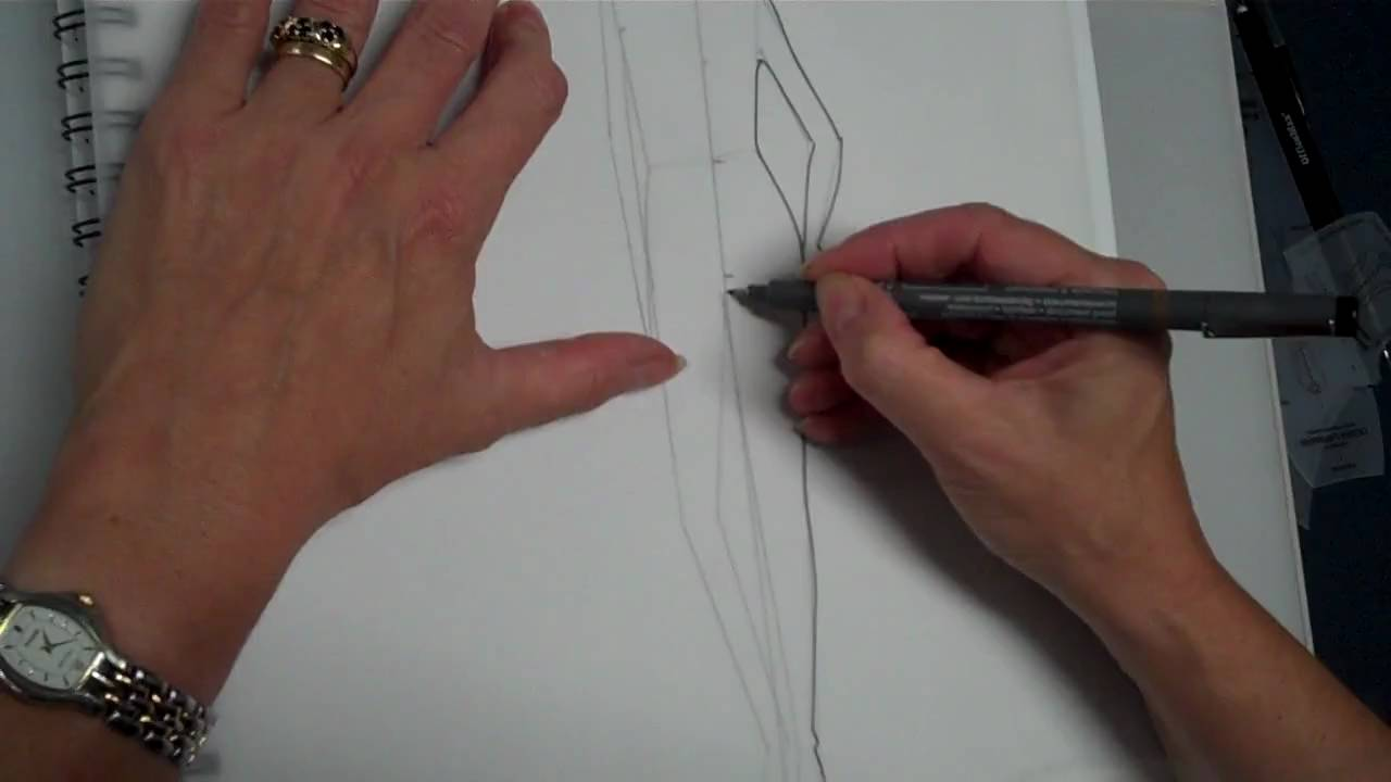 Use the Easy Draw template to sketch a fashion figure stance - YouTube