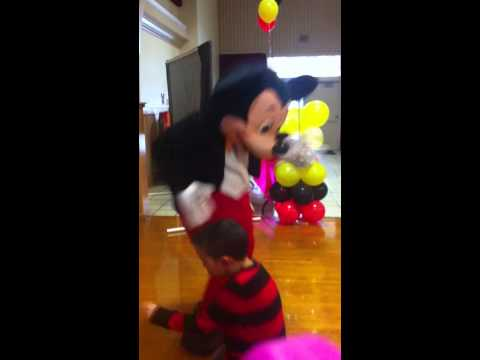 Mascots In Action Mickey Mouse look alike party mascot dance off