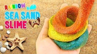 DIY Rainbow Sea Sand Slime ! kinetic sand Slime | MonsterKids