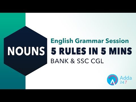 English Grammar | 5 Rules In 5 Mins | Nouns for SSC CGL 2017