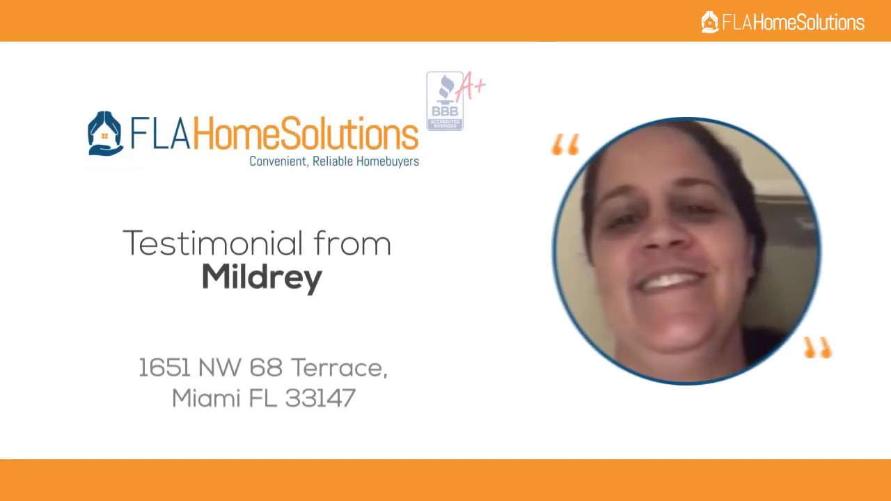 Visit www.FLAHomeSolutions.com Call 305-602-4105 Mildrey's Testimonial for Creative RE-Solutions