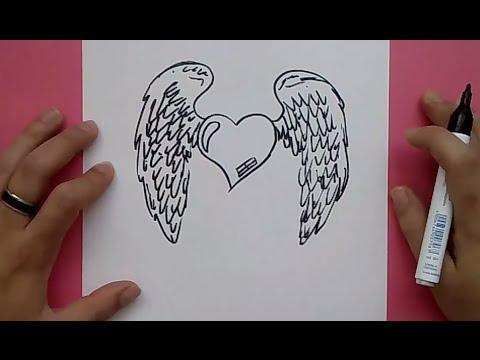 Como dibujar un corazon con alas paso a paso 3 how to - Como hacer un corazon con fotos ...