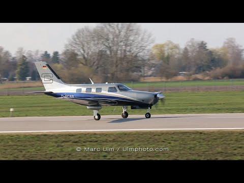 Piper PA-46-350P Malibu Taxiing + Take Off Augsburg Airport