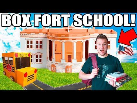 BOX FORT HIGH SCHOOL!! 📦🚌 Gym Class, Dodgeball, Detention & More!