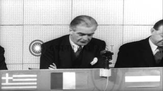 Anthony Eden speaks during the North Atlantic Treaty Organization press conferenc...HD Stock Footage