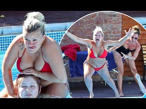 Kerry Katona in tiny red bikini larks around in the pool with close pal Michelle Heaton