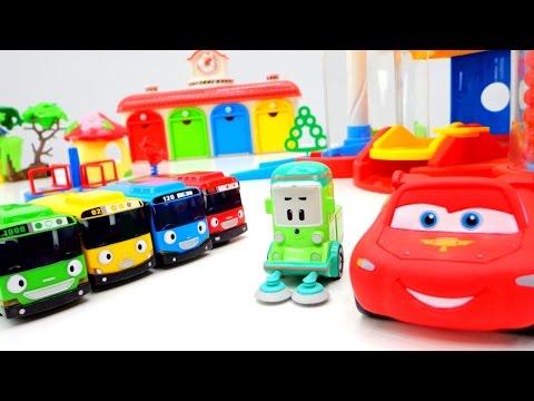 Автобус Тайо и Молния Маквин. Тачки игры для мальчиков. Смотреть мультики про машинки