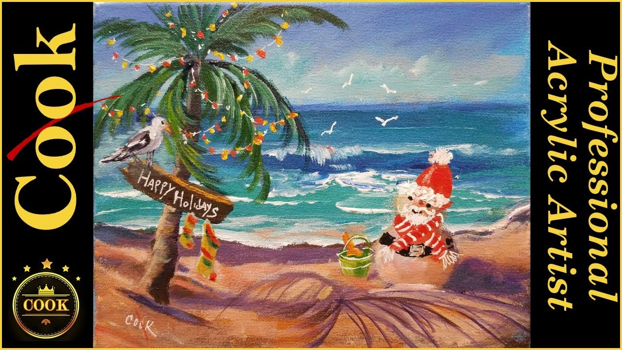 How To Paint A Tropical Christmas Card With A Sand Snowman