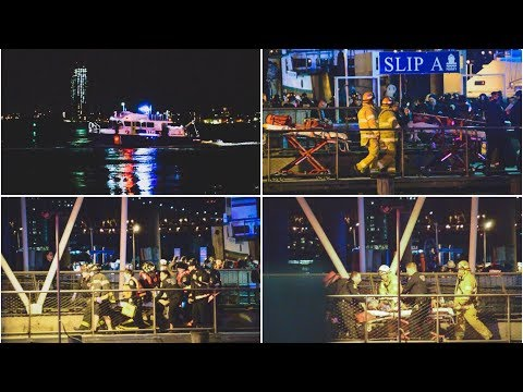 Helicopter Plunges Into East River - Victims Transferred to FDNY Firefighters/ Paramedics on Land