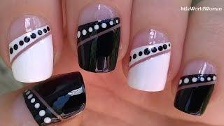 TAPE NAIL ART Tutorial / Black & White MONOCHROME NAILS