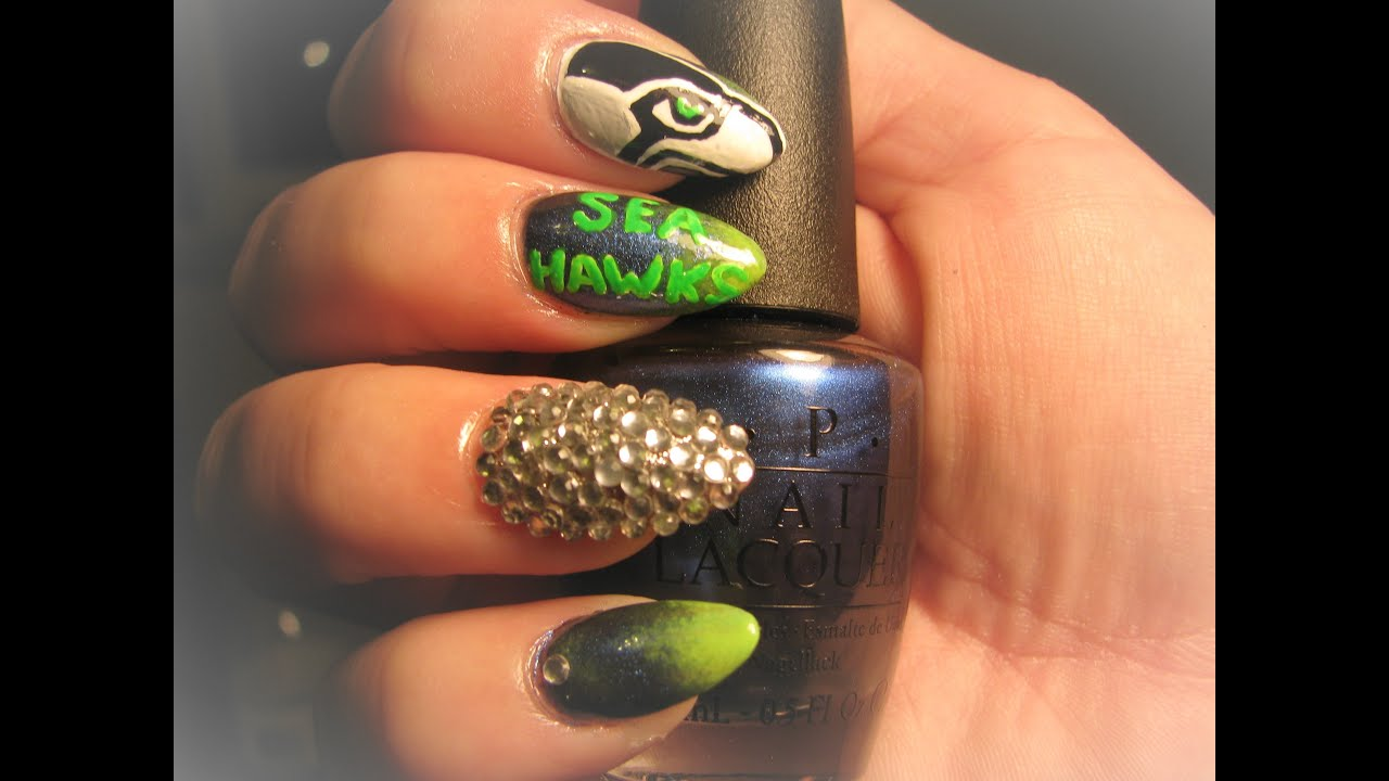 Seattle Seahawk nail art tutorial - YouTube