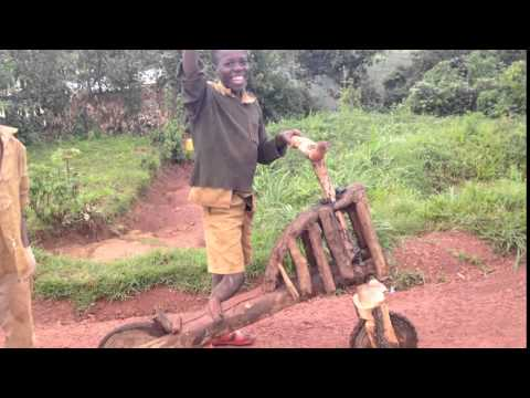 Amazing wooden bike I rode in Rwanda, Africa
