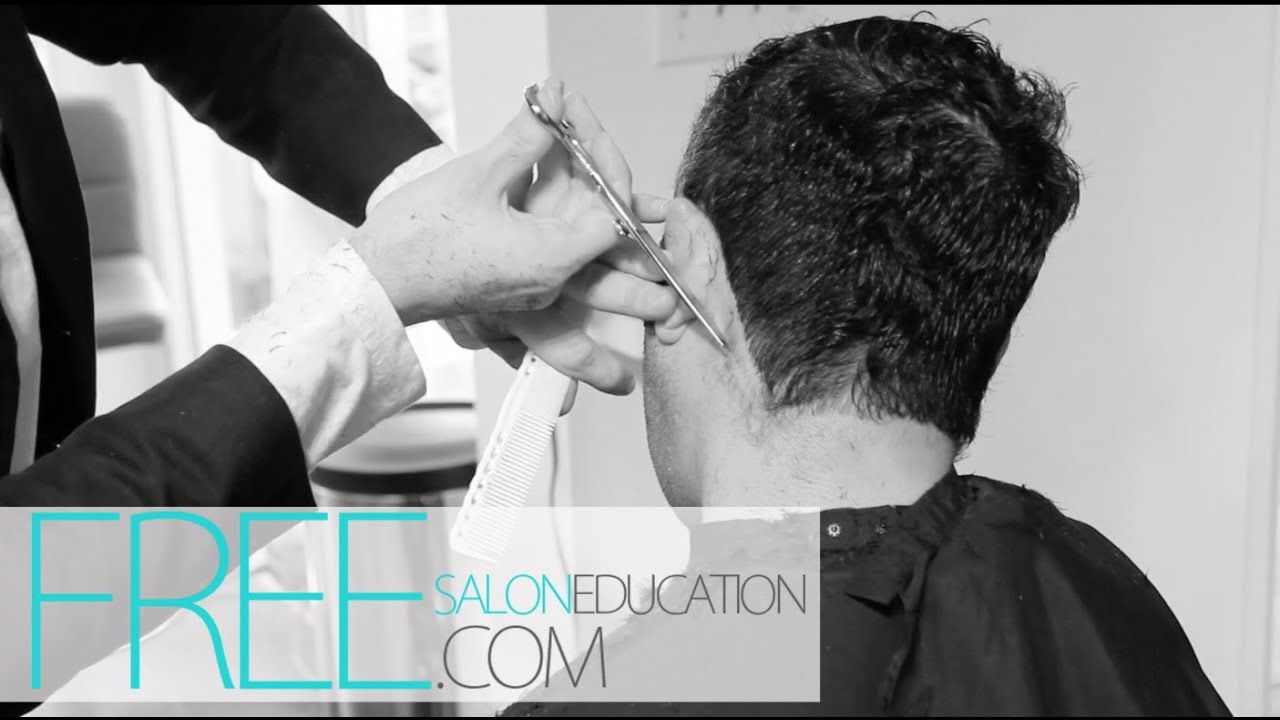 CURLY MENS HAIRCUT - SCISSOR OVER COMB HAIRCUT- HOW TO SCISSOR OVER COMB
