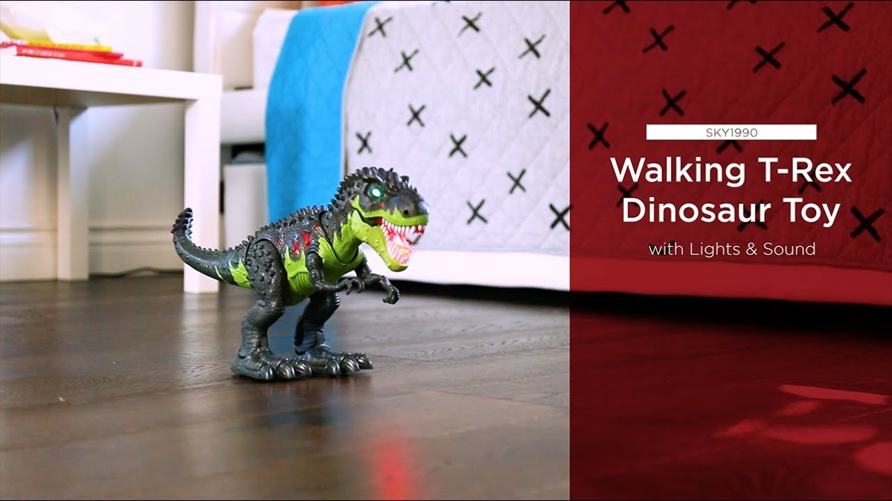 Remote Walking Dinosaur Light Up Kids LED Toy Figure With Sounds Real Movement