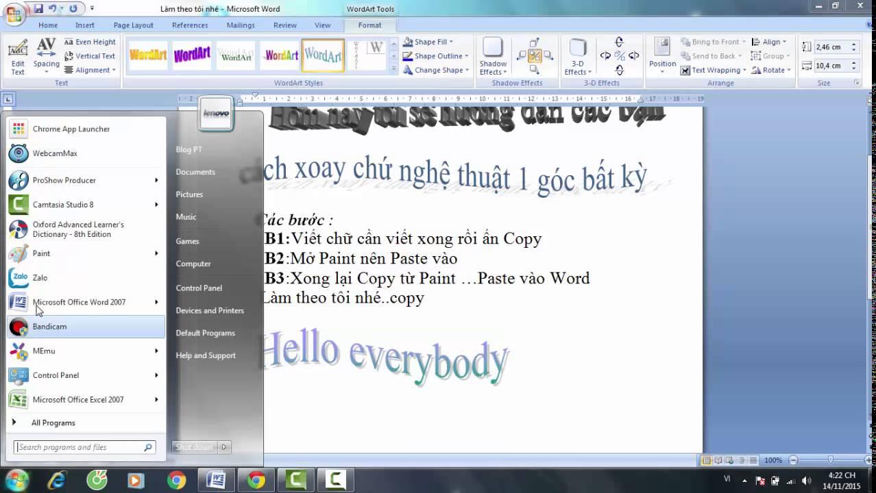 Cách xoay chữ trong word 2007