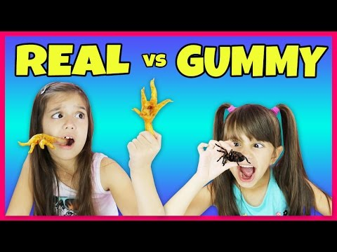 Thumbnail: Real Food vs Gummy Food Challenge Part 3 - Super Gross Real Food - Kids React - Snakes, Spiders