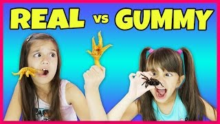 GUMMY FOOD VS REAL FOOD CHALLENGE! 8 FOOT GROSS GUMMY WORM SNAKE CANDY!