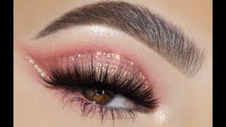 SOFT ROSE GOLD / GLITTER CUT CREASE EYE MAKEUP TUTORIAL