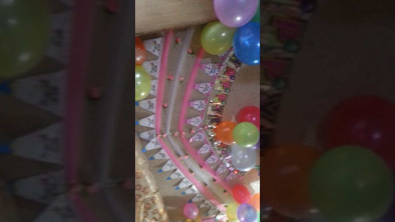 Room Decoration For Birthday Party Balloons Ribbons YouTube