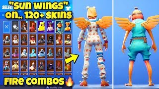 "NEW ""SUN WINGS"" BACK BLING Showcased With 120+ SKINS! Fortnite Battle Royale (SUN WINGS COMBOS)"