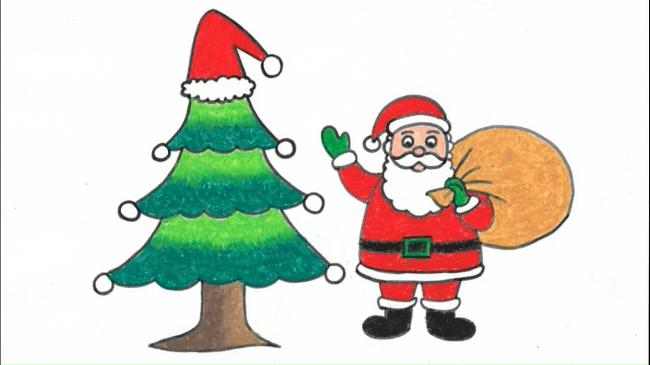 How To Draw Step By Step Santa Claus With Christmas Tree // Art And Craft Point - YouTube