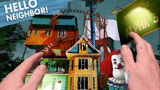 Realistic Minecraft: hello neighbor  ALPHA 3 ROLLER COASTER CLOWN?