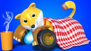 АнимаКары Торч, ЩЕНОК-МАШИНКА, болен! мультфильмы для детей с машинами и животными