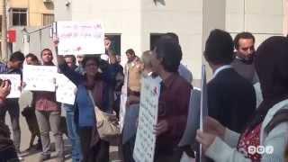 رصد | مضايقات أمن السفارة السعودية للمتظاهرين ضد عاصفة الحزم